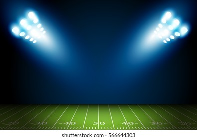 American Football field with bright stadium lights shining on it. Vector design.