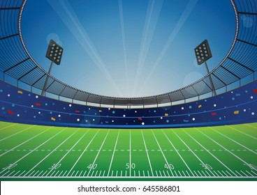 American Football field with bright stadium. vector illustration.