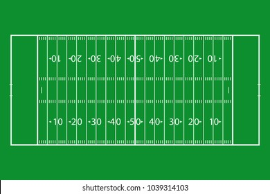 American football field. Green grass football court. Template background field for sport strategy and poster. Vector illustrator.