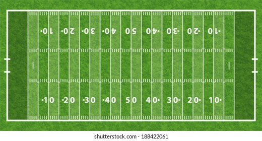 American Football Field with Line and Grass Texture. Vector illustration.