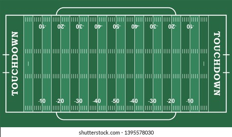 American football field with marking. Football field in top view with white markup