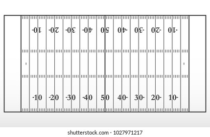American football field markup. Outline of lines on an American football field. Vector illustration.
