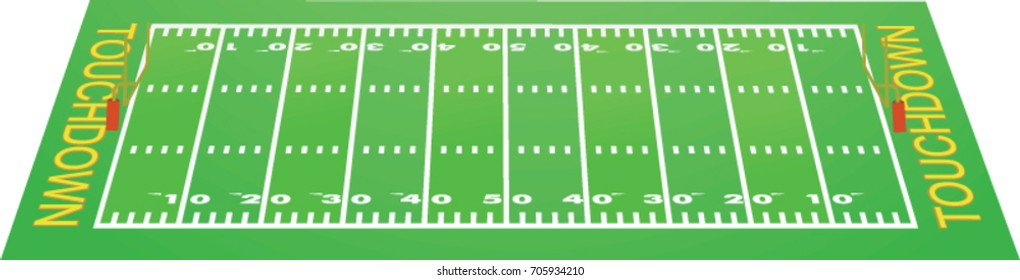 American football field perspective view. vector illustration