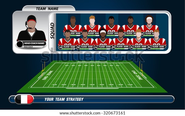 American Football Field Player Lineup Set Stock Vector