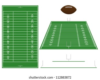 American Football Field with Sections and Perspective