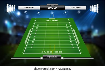 American Football field with set of infographic elements.