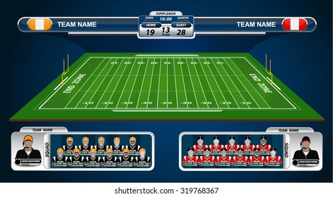 American Football field with strategy elements