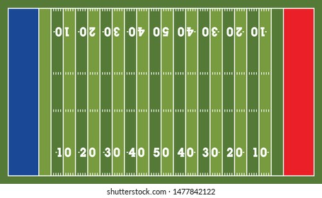 American football field top view, background texture Vector illustration