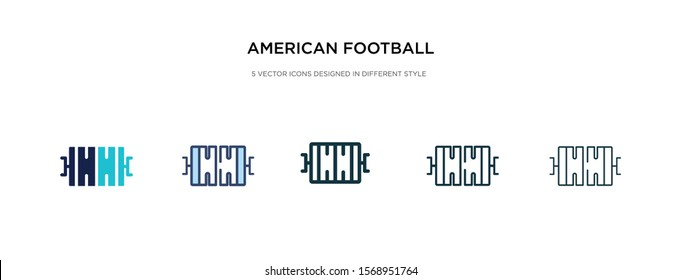 american football field top view icon in different style vector illustration. two colored and black american football field top view vector icons designed in filled, outline, line and stroke style