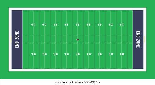 American football field top view.Vector illustration.