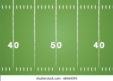 American football field vector with chalk drawn lines.
