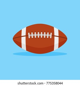 American football flat style icon on blue background. Rugby ball vector illustration.