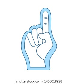 American Football Foam Finger Icon. Thin Line With Blue Fill Design. Vector Illustration.