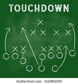 American football formation tactics vector.