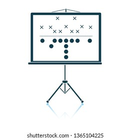 American football game plan stand icon. Shadow reflection design. Vector illustration.