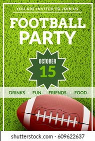 American football game tailgate field design flyer. Football party invitation poster backgorund. Vector illustration.