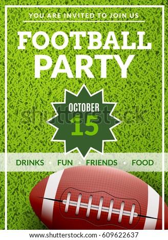 American Football Game Tailgate Field Design Flyer Party Invitation Poster Backgorund Vector Illustration