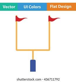 American football goal post icon. Flat color design. Vector illustration.