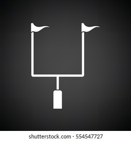 American football goal post icon. Black background with white. Vector illustration.