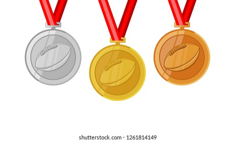 american football gridiron complete shinny medals set gold siver and bronze in flat style