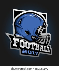 American football helmet. Games 2017 emblem, sticker, logo.