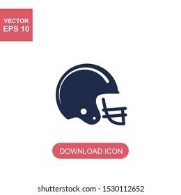 American football helmet icon on white. Sport icon