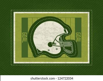 American Football helmet, on field, green background