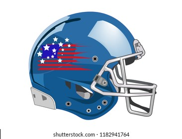 American football helmet on white background, sports equipment, vector illustration