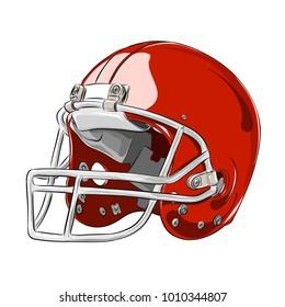 American football helmet red colour vector illustration