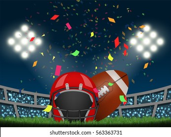 American football helmet and rugby ball in stadium with confetti, crowded fans and spotlight. Design for sport competition template in vector illustration