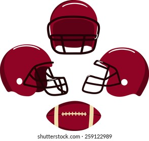 American football helmets and ball.  Vector illustration Eps 8.