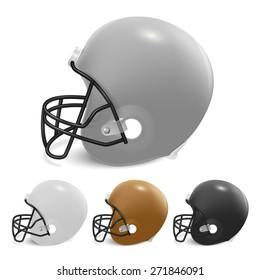 American football helmets set.  Isolated on white background. Vector EPS10 illustration.