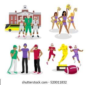 American football. High school games. Cheerleading. Gold reward for Sport Achievement. Football referee. Team sport. Set of icons. High school building on background. Football team bus. Vector