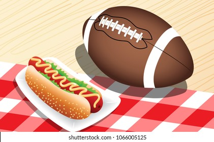 American football with hot dogs