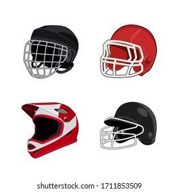 American football, ice hockey, baseball, motor bike uniform helmet. Rugby head protection equipment. Isolated vector illustration.