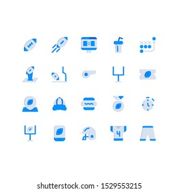American football icon set : ball, shooting, score board, drink, tactics, trophy, goal, whistle, ticket, pin, hat, hot dog, medal, stopwatch, smartphone, helemt, jersey, pants