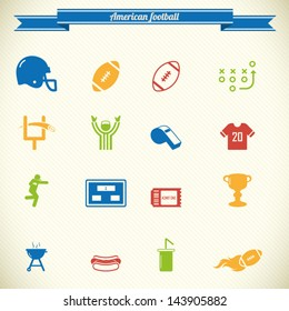 American football icon set in color