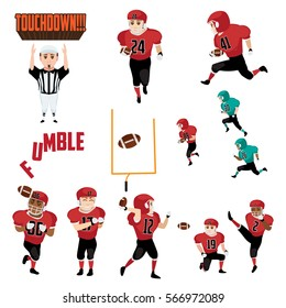 American Football Icons Cliparts Design Elements