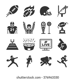 American football icons. Included the icons as field, goal, touchdown, end zone, helmet, runner and more.