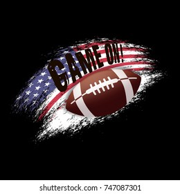 American football illustration on black background. Game on! Vector grunge american flag with ball. Print for t-shirt