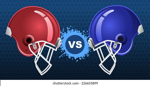 American football insignia vector illustration with two american football helmets.