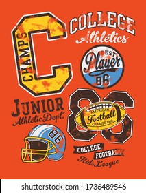 American football junior college league  vector artwork for children wear with applique patches grunge effect in separate layer