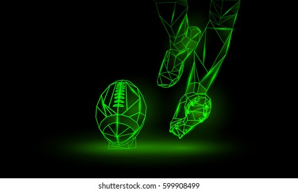 American Football Kickoff. Polygonal green neon background. Legs and Football ball.