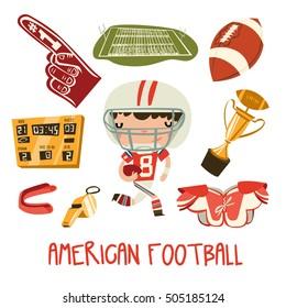 american football kid set. little boy in american football equipment. vector set.
