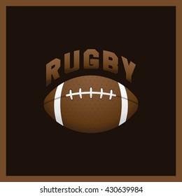 American football label. Rugby logotype emblem brown gradient