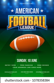 American football league poster, banner or flyer design, football ground as background.