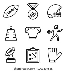 American football line icon set. simple design editable. Design template vector