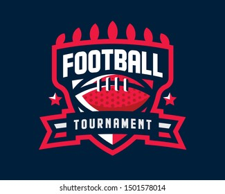 American football logo design. Rugby emblem tournament template editable for your design.