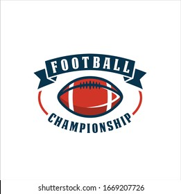 American football logo design. Rugby emblem championship template, club, tournament, isolated on white background, emblem, designs with ball. Sport badge vector illustration