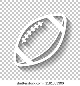 American Football logo. Simple rugby ball icon. White icon with shadow on transparent background